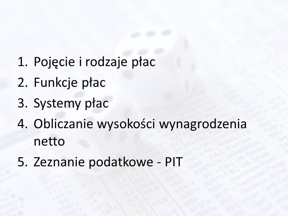 1.Pojęcie i rodzaje płac 2.Funkcje płac 3.Systemy płac 4.Obliczanie wysokości wynagrodzenia netto 5.Zeznanie podatkowe - PIT