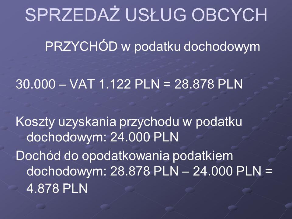 SPRZEDAŻ USŁUG OBCYCH PRZYCHÓD w podatku dochodowym 30.000 – VAT 1.122 PLN = 28.878 PLN Koszty uzyskania przychodu w podatku dochodowym: 24.000 PLN Dochód do opodatkowania podatkiem dochodowym: 28.878 PLN – 24.000 PLN = 4.878 PLN