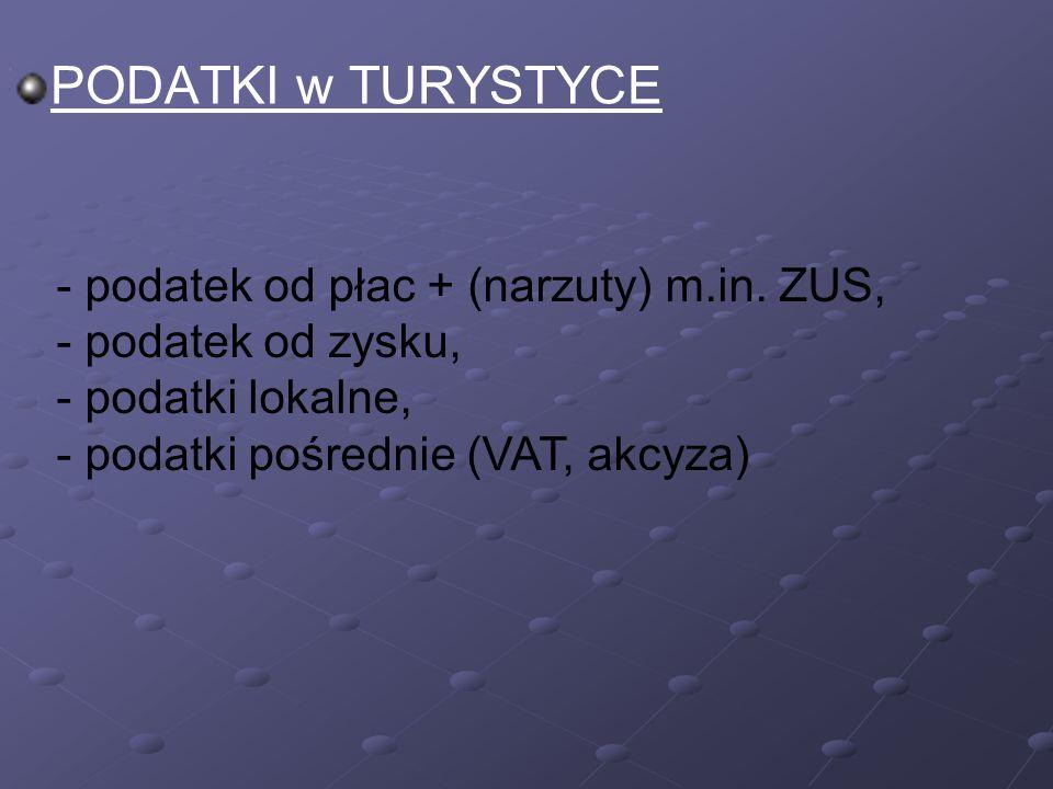 PODATKI w TURYSTYCE - podatek od płac + (narzuty) m.in.