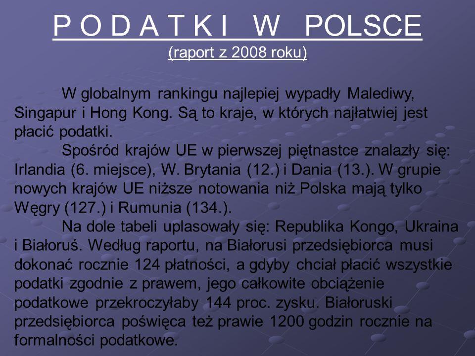 P O D A T K I W POLSCE (raport z 2008 roku) W globalnym rankingu najlepiej wypadły Malediwy, Singapur i Hong Kong.