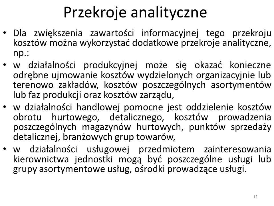 Przekroje analityczne Dla zwiększenia zawartości informacyjnej tego przekroju kosztów można wykorzystać dodatkowe przekroje analityczne, np.: w działa