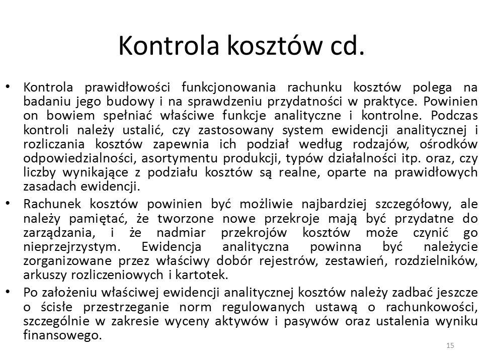 Kontrola kosztów cd.