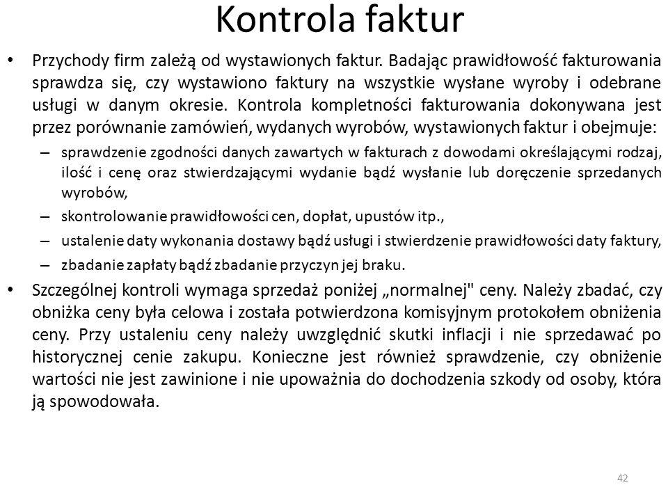 Kontrola faktur Przychody firm zależą od wystawionych faktur.