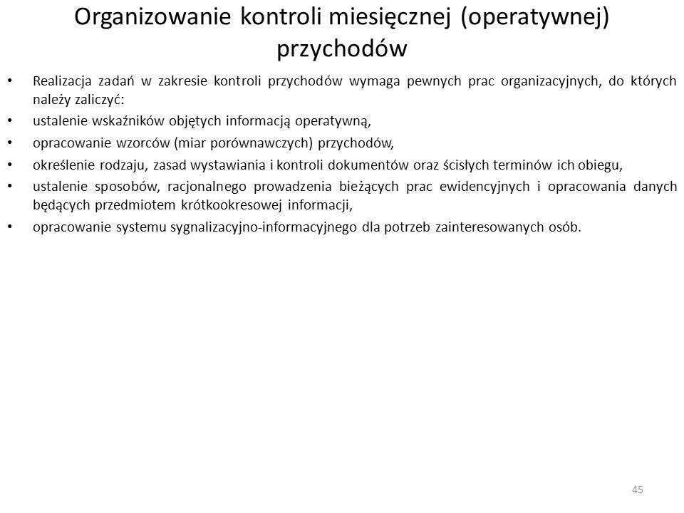 Organizowanie kontroli miesięcznej (operatywnej) przychodów Realizacja zadań w zakresie kontroli przychodów wymaga pewnych prac organizacyjnych, do kt
