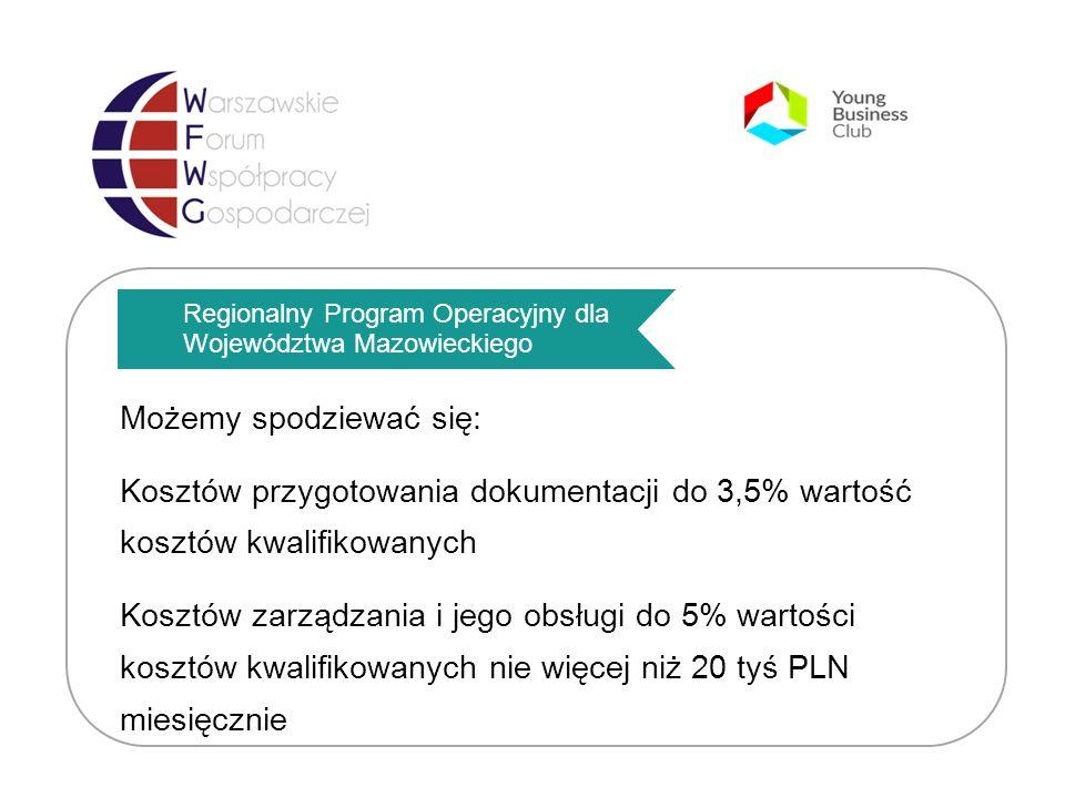 Regionalny Program Operacyjny dla Województwa Mazowieckiego Możemy spodziewać się: Kosztów przygotowania dokumentacji do 3,5% wartość kosztów kwalifikowanych Kosztów zarządzania i jego obsługi do 5% wartości kosztów kwalifikowanych nie więcej niż 20 tyś PLN miesięcznie