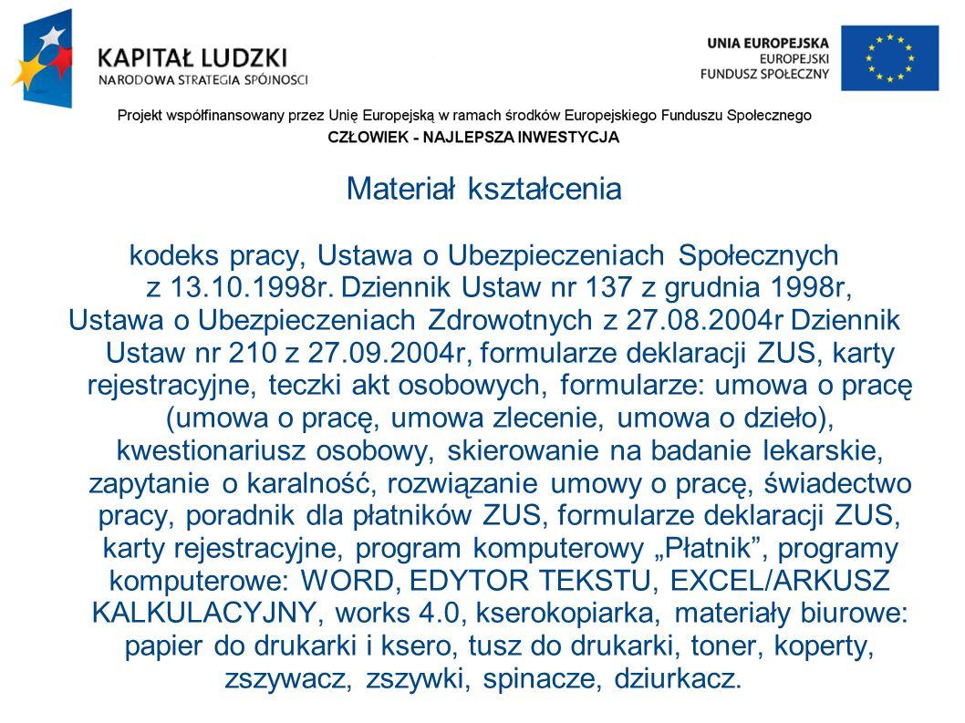Materiał kształcenia kodeks pracy, Ustawa o Ubezpieczeniach Społecznych z 13.10.1998r.
