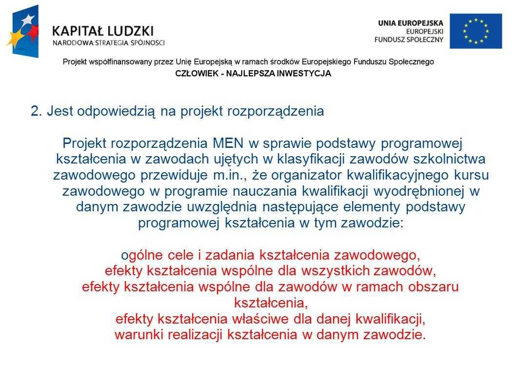 2. Jest odpowiedzią na projekt rozporządzenia Projekt rozporządzenia MEN w sprawie podstawy programowej kształcenia w zawodach ujętych w klasyfikacji