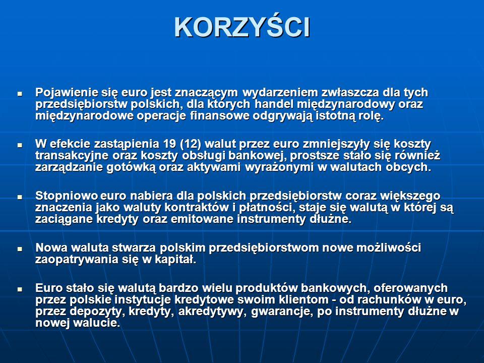 KORZYŚCI Pojawienie się euro jest znaczącym wydarzeniem zwłaszcza dla tych przedsiębiorstw polskich, dla których handel międzynarodowy oraz międzynarodowe operacje finansowe odgrywają istotną rolę.