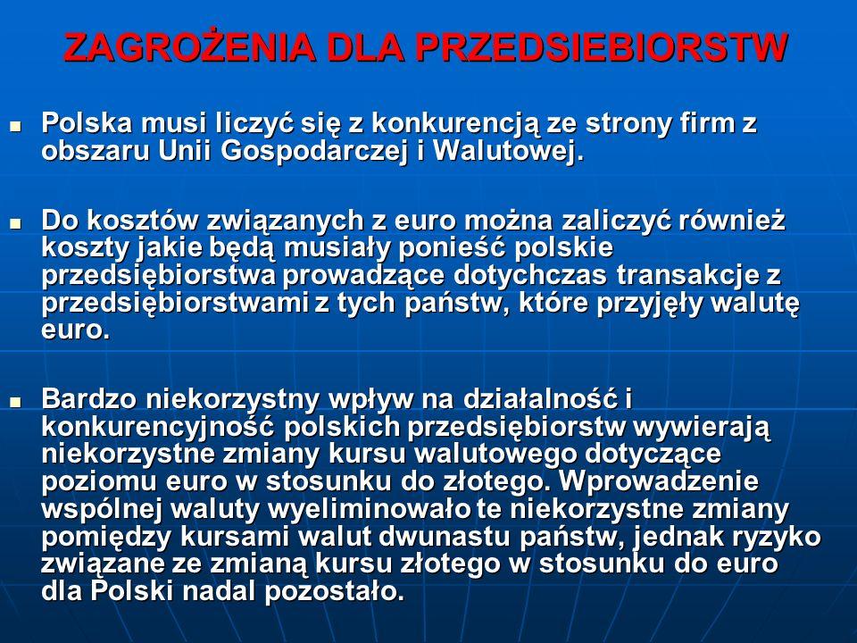 ZAGROŻENIA DLA PRZEDSIEBIORSTW Polska musi liczyć się z konkurencją ze strony firm z obszaru Unii Gospodarczej i Walutowej.