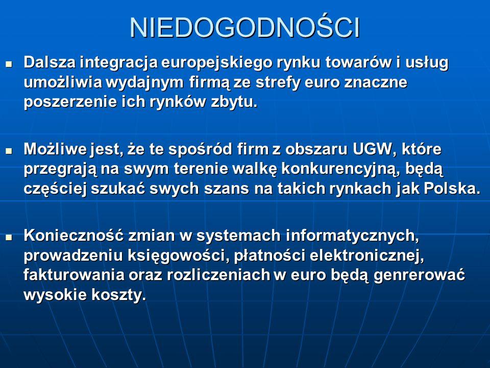 NIEDOGODNOŚCI Dalsza integracja europejskiego rynku towarów i usług umożliwia wydajnym firmą ze strefy euro znaczne poszerzenie ich rynków zbytu.