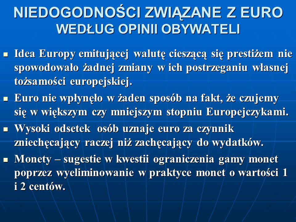 NIEDOGODNOŚCI ZWIĄZANE Z EURO WEDŁUG OPINII OBYWATELI Idea Europy emitującej walutę cieszącą się prestiżem nie spowodowało żadnej zmiany w ich postrzeganiu własnej tożsamości europejskiej.