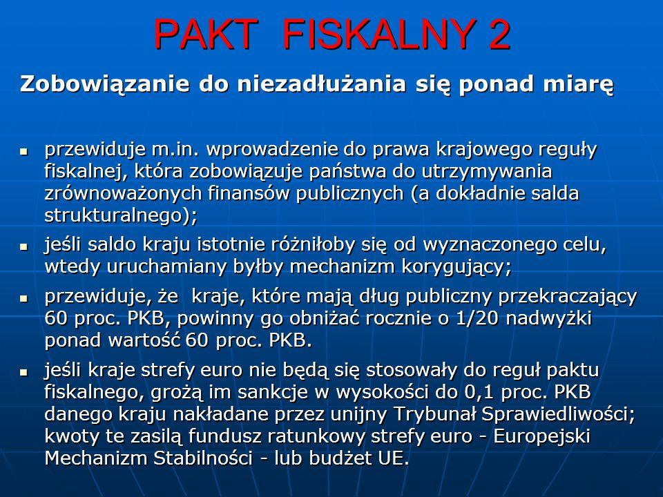 PAKT FISKALNY 2 Zobowiązanie do niezadłużania się ponad miarę przewiduje m.in.