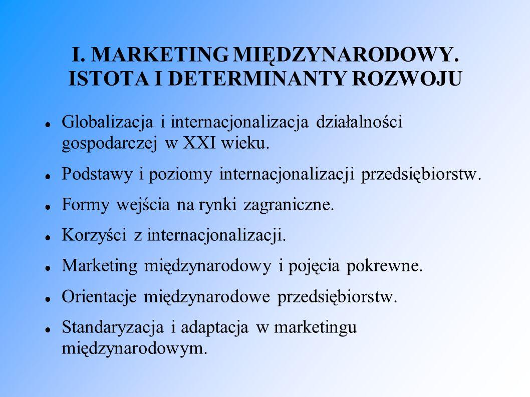 I. MARKETING MIĘDZYNARODOWY. ISTOTA I DETERMINANTY ROZWOJU Globalizacja i internacjonalizacja działalności gospodarczej w XXI wieku. Podstawy i poziom