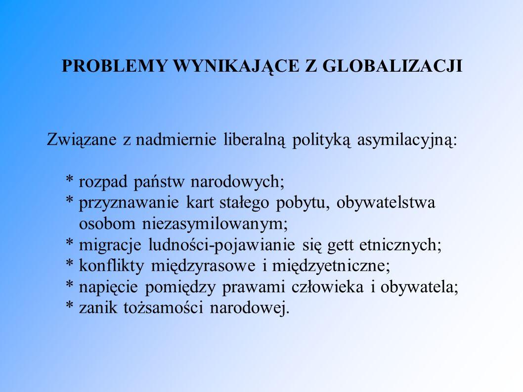 PROBLEMY WYNIKAJĄCE Z GLOBALIZACJI Związane z nadmiernie liberalną polityką asymilacyjną: * rozpad państw narodowych; * przyznawanie kart stałego poby