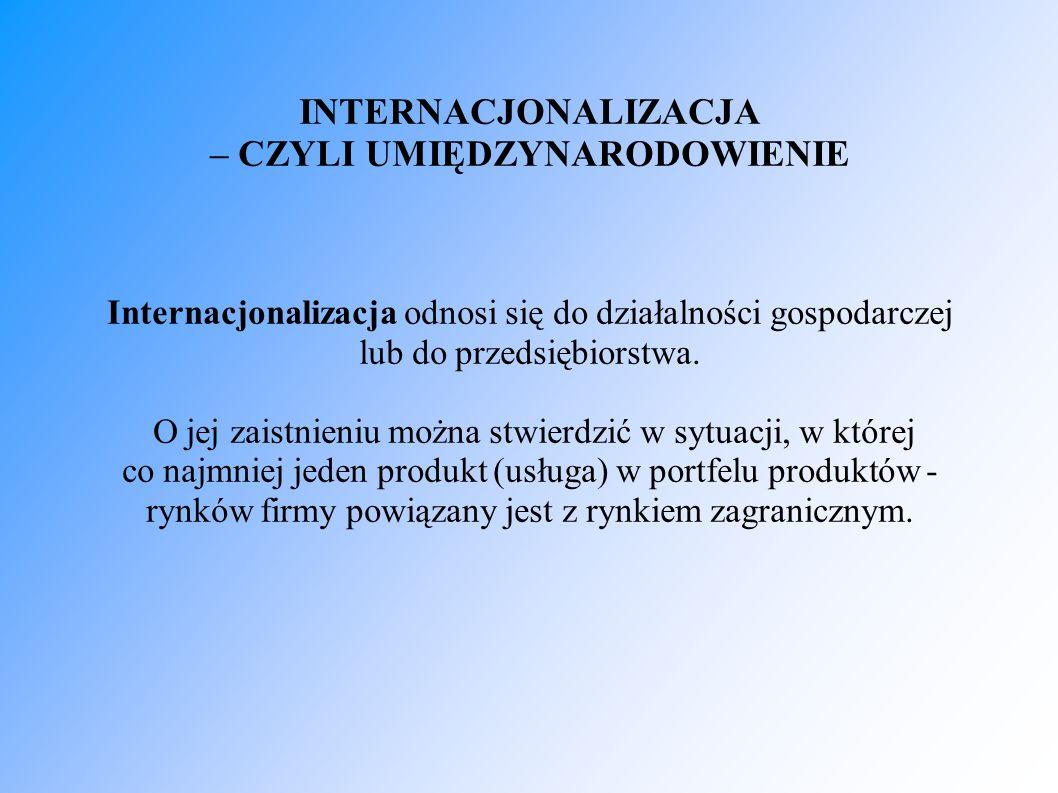 INTERNACJONALIZACJA – CZYLI UMIĘDZYNARODOWIENIE Internacjonalizacja odnosi się do działalności gospodarczej lub do przedsiębiorstwa. O jej zaistnieniu