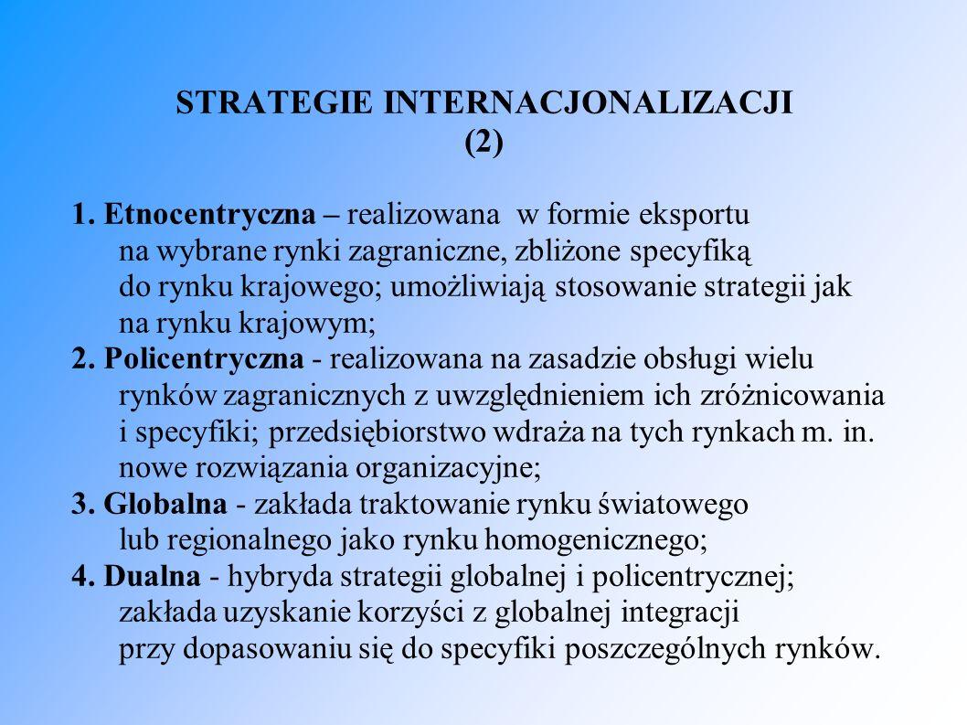 STRATEGIE INTERNACJONALIZACJI (2) 1. Etnocentryczna – realizowana w formie eksportu na wybrane rynki zagraniczne, zbliżone specyfiką do rynku krajowe