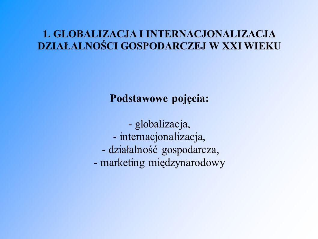 1. GLOBALIZACJA I INTERNACJONALIZACJA DZIAŁALNOŚCI GOSPODARCZEJ W XXI WIEKU Podstawowe pojęcia: - globalizacja, - internacjonalizacja, - działalność g