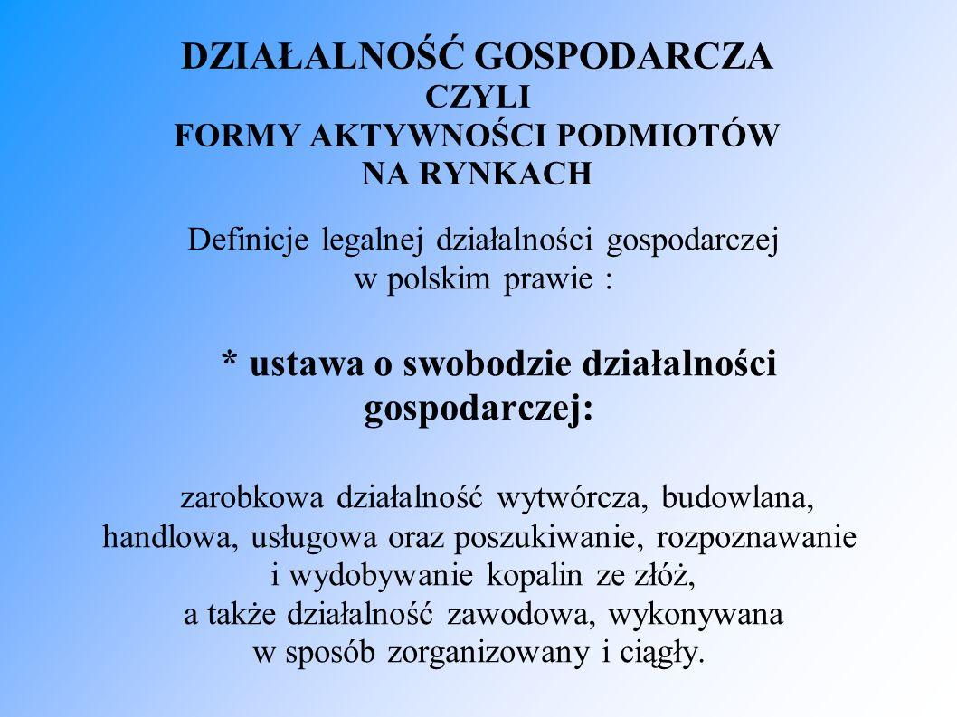 DZIAŁALNOŚĆ GOSPODARCZA CZYLI FORMY AKTYWNOŚCI PODMIOTÓW NA RYNKACH Definicje legalnej działalności gospodarczej w polskim prawie : * ustawa o swobodz
