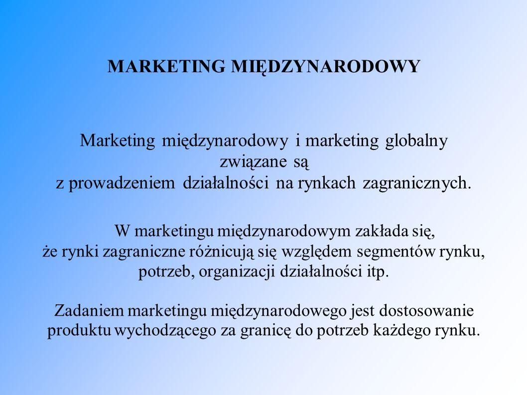 MARKETING MIĘDZYNARODOWY Marketing międzynarodowy i marketing globalny związane są z prowadzeniem działalności na rynkach zagranicznych. W marketingu