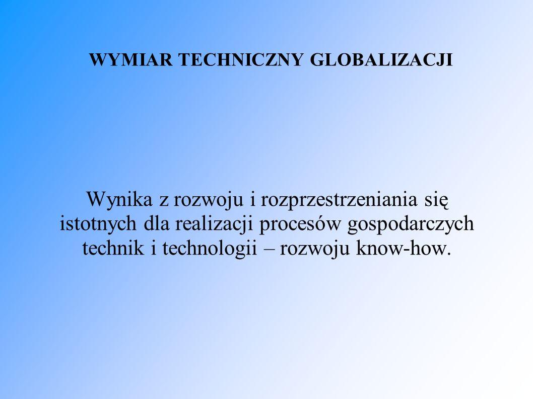 WYMIAR TECHNICZNY GLOBALIZACJI Wynika z rozwoju i rozprzestrzeniania się istotnych dla realizacji procesów gospodarczych technik i technologii – rozwo