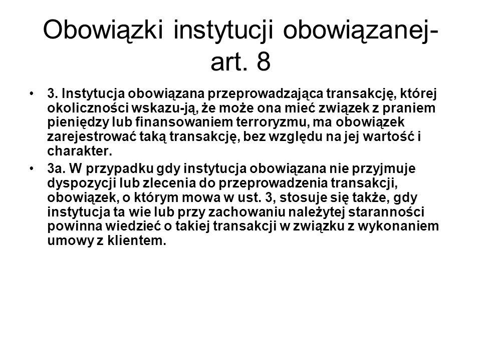 Obowiązki instytucji obowiązanej- art.8 3.
