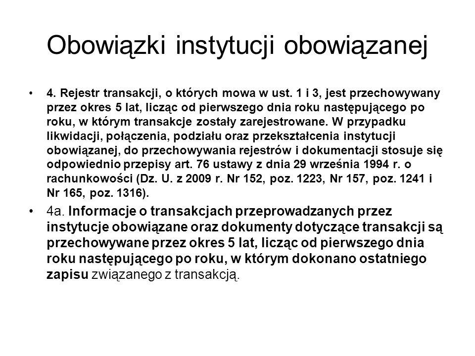 Obowiązki instytucji obowiązanej 4.Rejestr transakcji, o których mowa w ust.