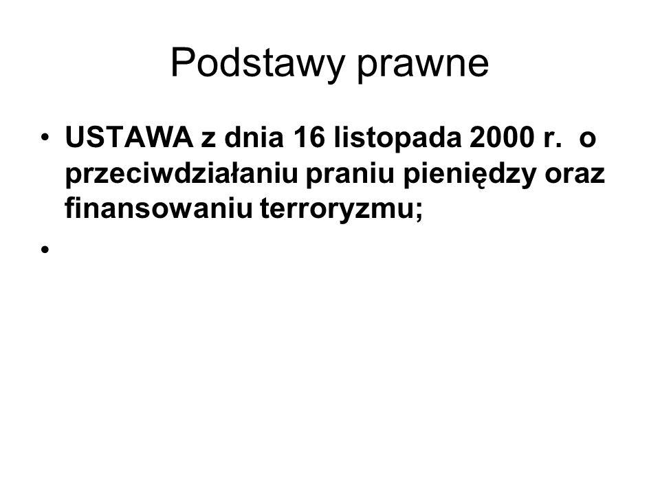 Podstawy prawne USTAWA z dnia 16 listopada 2000 r.