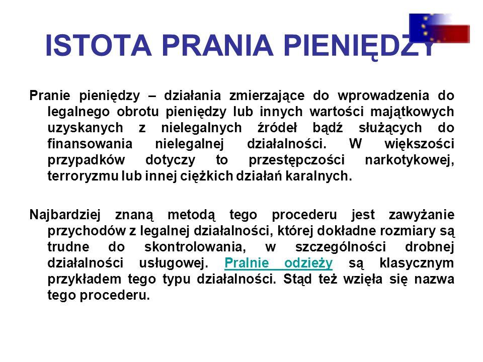 ISTOTA PRANIA PIENIĘDZY Pranie pieniędzy – działania zmierzające do wprowadzenia do legalnego obrotu pieniędzy lub innych wartości majątkowych uzyskanych z nielegalnych źródeł bądź służących do finansowania nielegalnej działalności.