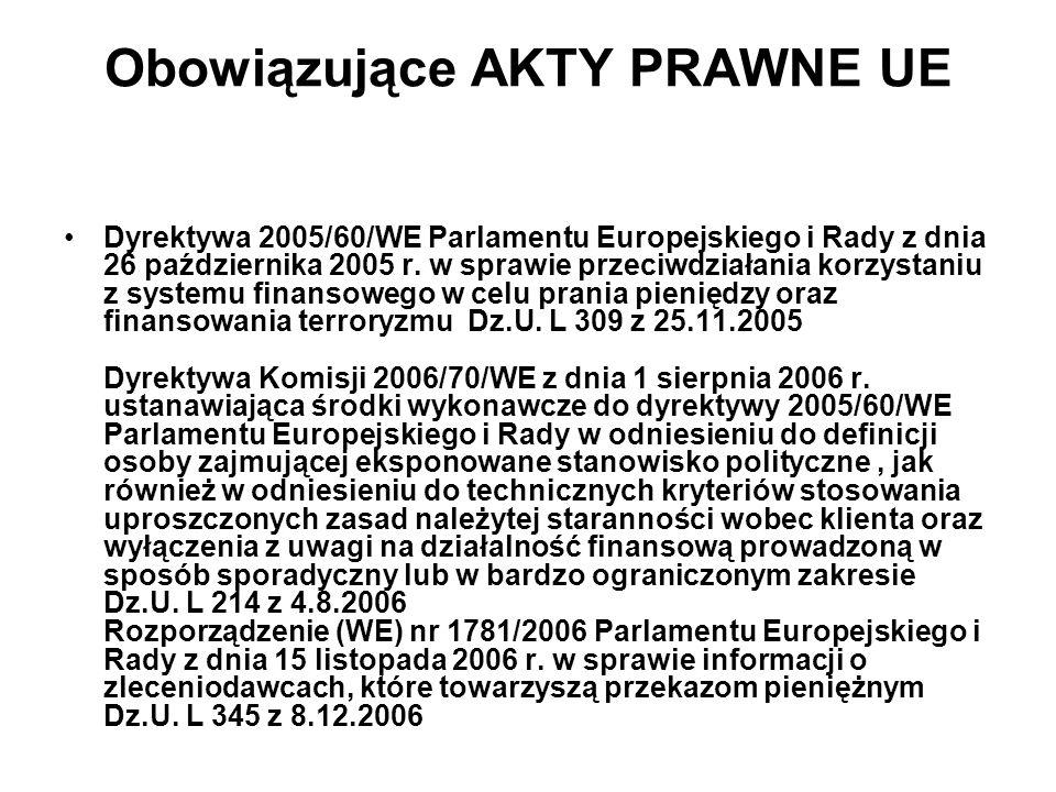 Obowiązujące AKTY PRAWNE UE Dyrektywa 2005/60/WE Parlamentu Europejskiego i Rady z dnia 26 października 2005 r.