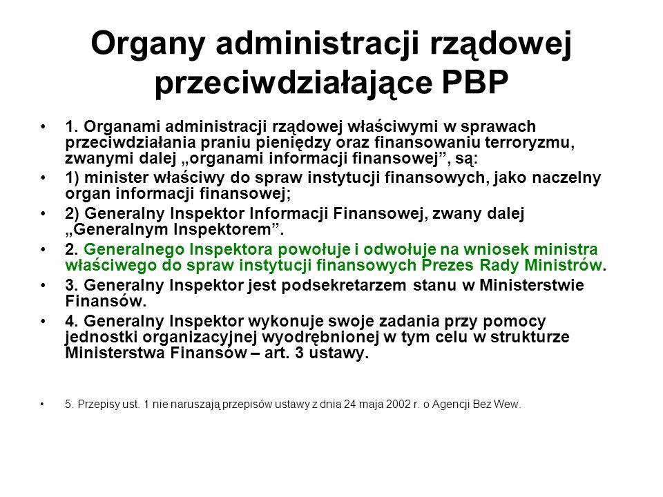 Organy administracji rządowej przeciwdziałające PBP 1.