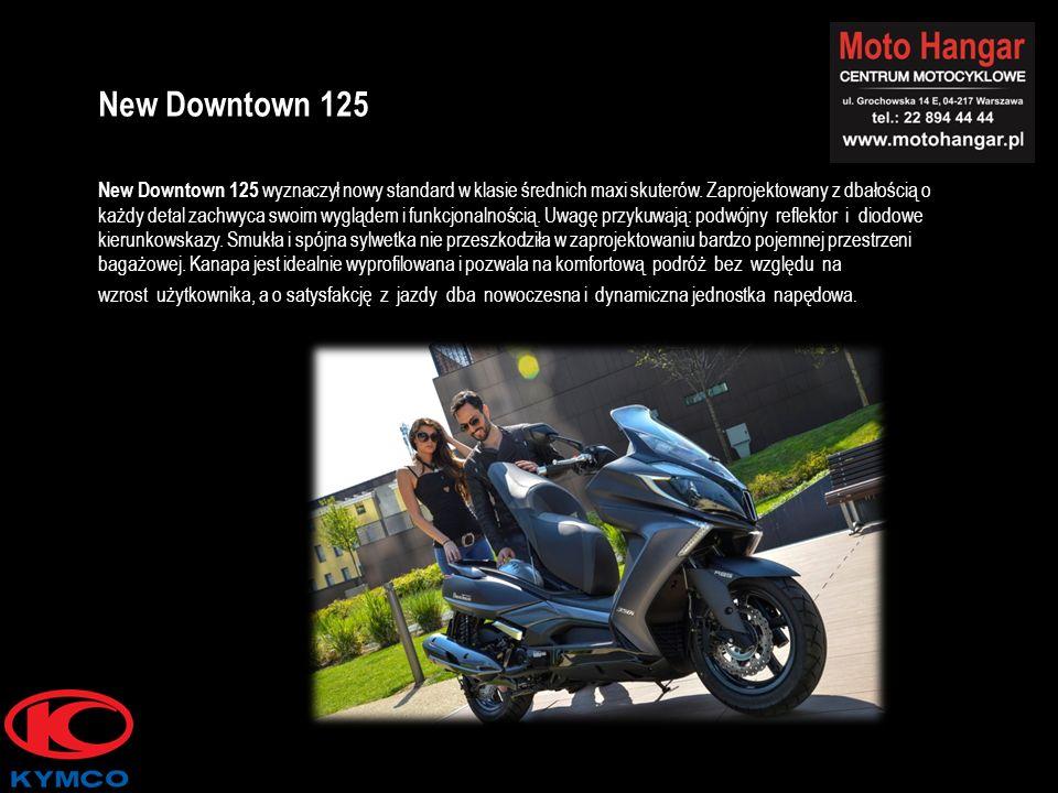 New Downtown 125 wyznaczył nowy standard w klasie średnich maxi skuterów. Zaprojektowany z dbałością o każdy detal zachwyca swoim wyglądem i funkcjona