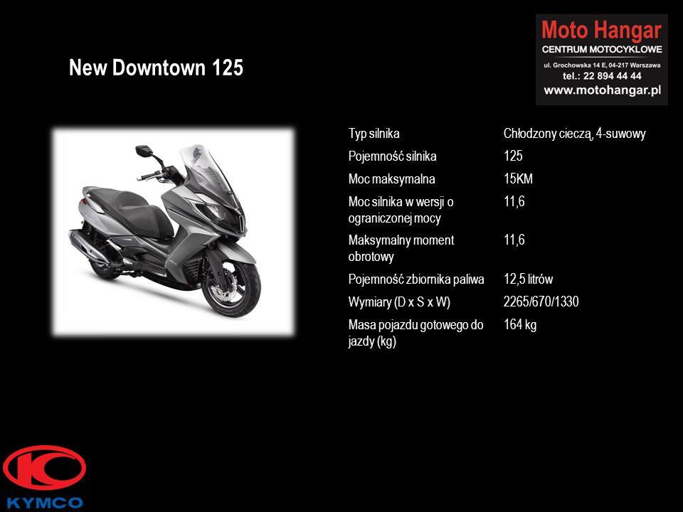 Typ silnikaChłodzony cieczą, 4-suwowy Pojemność silnika125 Moc maksymalna15KM Moc silnika w wersji o ograniczonej mocy 11,6 Maksymalny moment obrotowy 11,6 Pojemność zbiornika paliwa12,5 litrów Wymiary (D x S x W)2265/670/1330 Masa pojazdu gotowego do jazdy (kg) 164 kg New Downtown 125