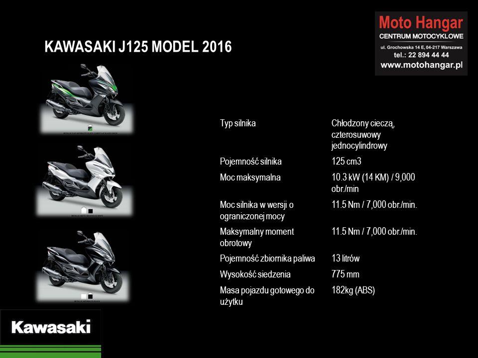 Typ silnikaChłodzony cieczą, czterosuwowy jednocylindrowy Pojemność silnika125 cm3 Moc maksymalna10.3 kW (14 KM) / 9,000 obr./min Moc silnika w wersji o ograniczonej mocy 11.5 Nm / 7,000 obr./min.
