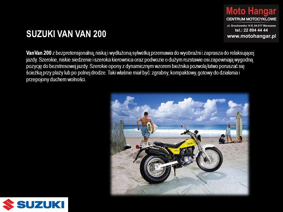 VanVan 200 z bezpretensjonalną, niską i wydłużoną sylwetką przemawia do wyobraźni i zaprasza do relaksującej jazdy. Szerokie, niskie siedzenie i szero
