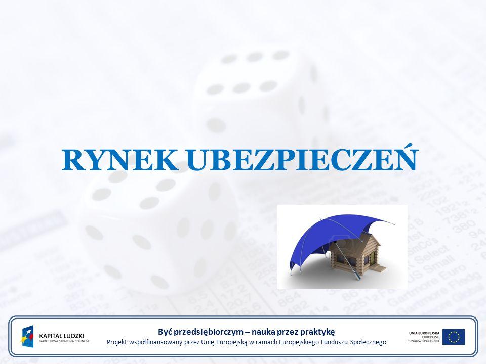 RYNEK UBEZPIECZEŃ Być przedsiębiorczym – nauka przez praktykę Projekt współfinansowany przez Unię Europejską w ramach Europejskiego Funduszu Społeczne