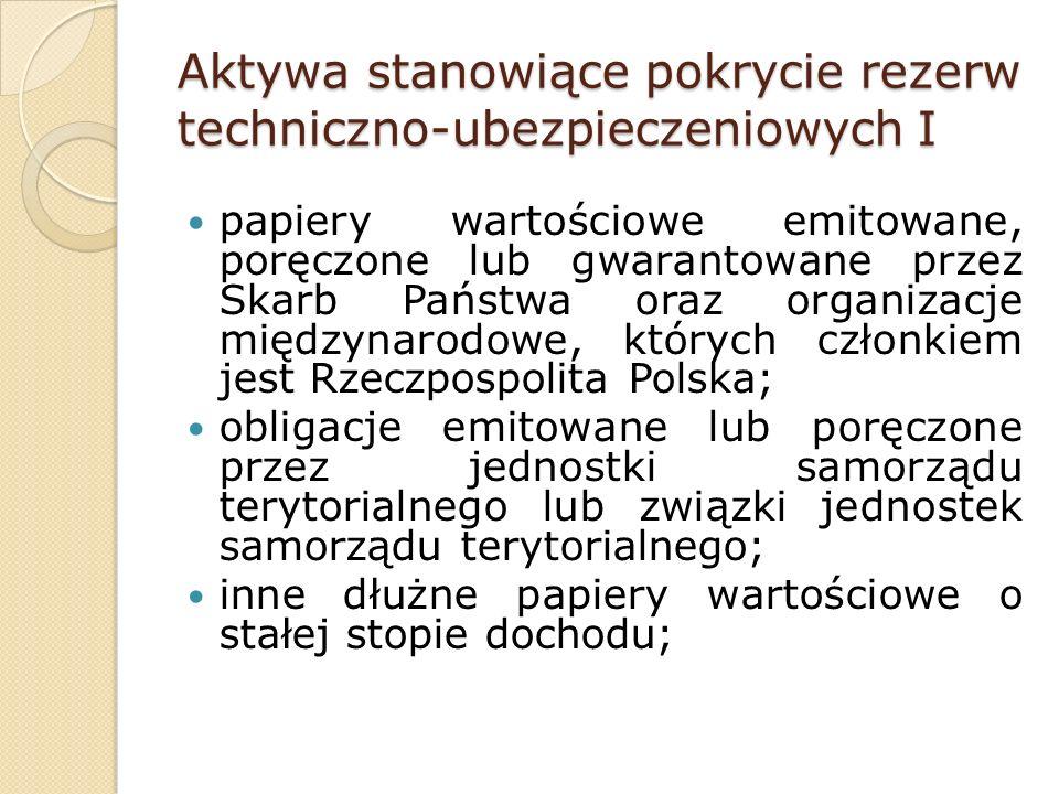 Aktywa stanowiące pokrycie rezerw techniczno-ubezpieczeniowych I papiery wartościowe emitowane, poręczone lub gwarantowane przez Skarb Państwa oraz organizacje międzynarodowe, których członkiem jest Rzeczpospolita Polska; obligacje emitowane lub poręczone przez jednostki samorządu terytorialnego lub związki jednostek samorządu terytorialnego; inne dłużne papiery wartościowe o stałej stopie dochodu;