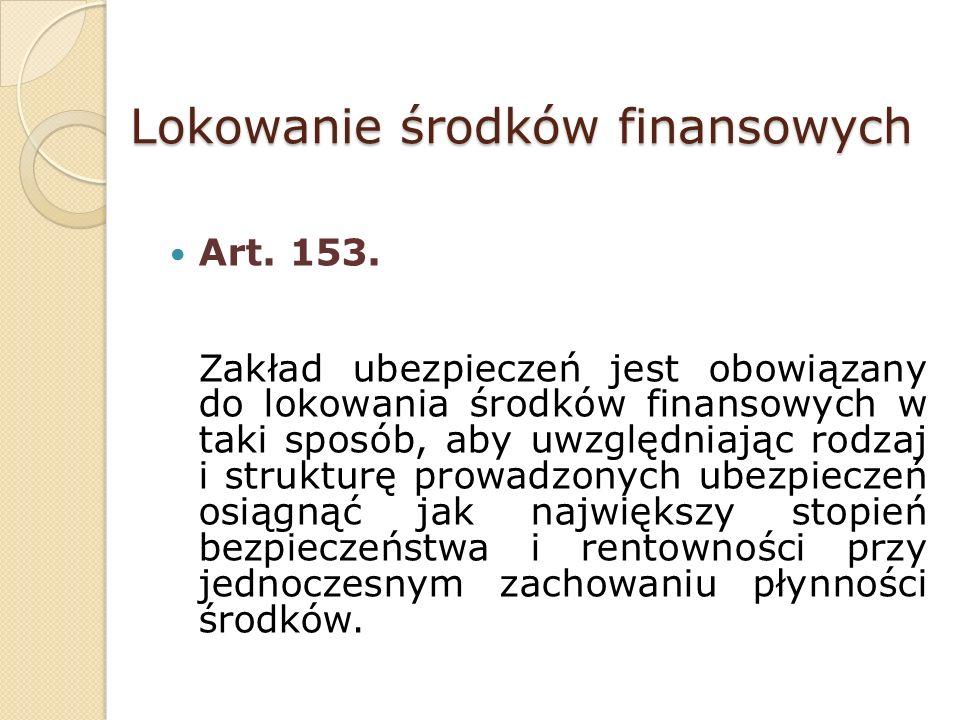 Lokowanie środków finansowych Art. 153.