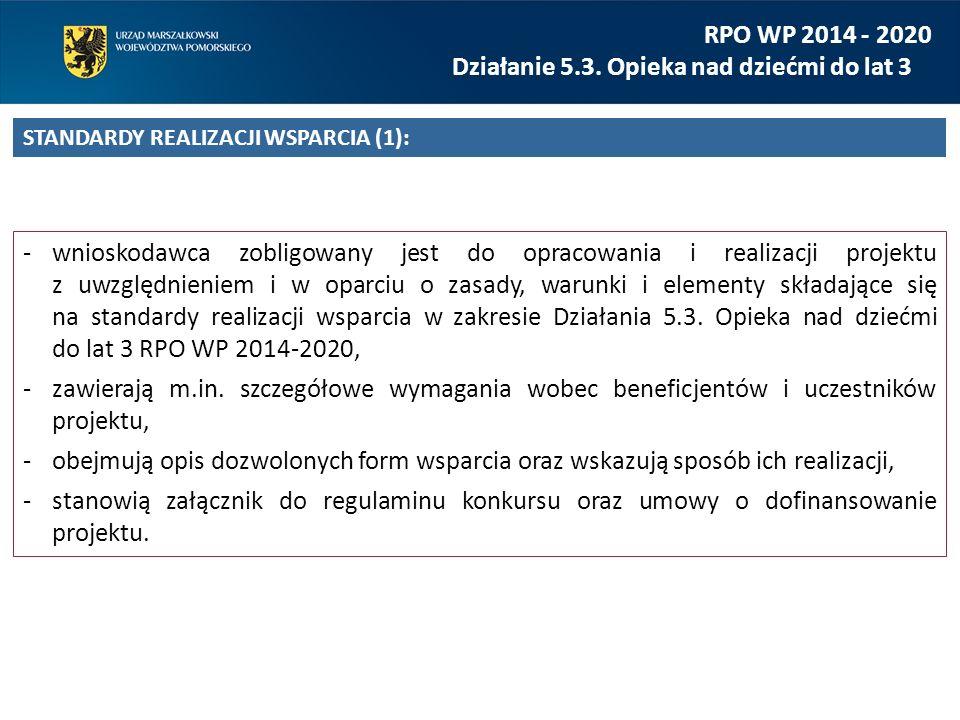 wnioskodawca zobligowany jest do opracowania i realizacji projektu z uwzględnieniem i w oparciu o zasady, warunki i elementy składające się na standardy realizacji wsparcia w zakresie Działania 5.3.