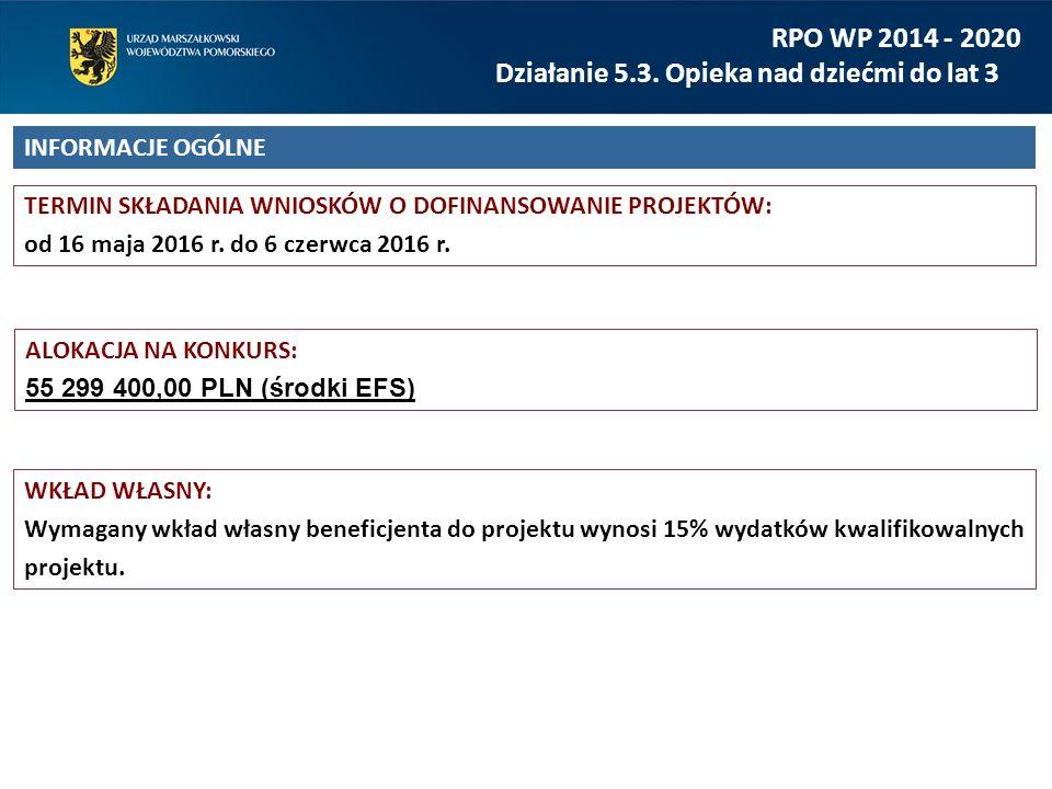 TERMIN SKŁADANIA WNIOSKÓW O DOFINANSOWANIE PROJEKTÓW: od 16 maja 2016 r. do 6 czerwca 2016 r. RPO WP 2014 - 2020 Działanie 5.3. Opieka nad dziećmi do