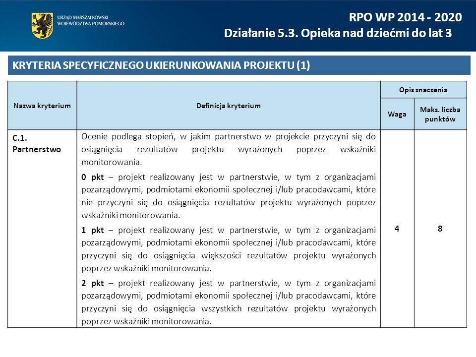 RPO WP 2014 - 2020 Działanie 5.3. Opieka nad dziećmi do lat 3 KRYTERIA SPECYFICZNEGO UKIERUNKOWANIA PROJEKTU (1) Nazwa kryteriumDefinicja kryterium Op
