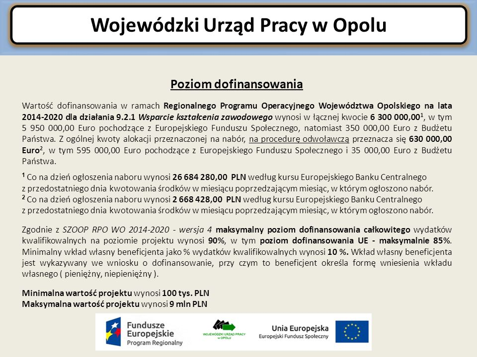 Wojewódzki Urząd Pracy w Opolu Poziom dofinansowania Wartość dofinansowania w ramach Regionalnego Programu Operacyjnego Województwa Opolskiego na lata