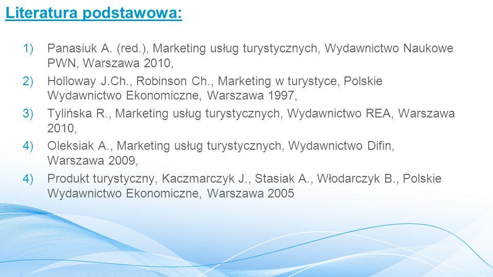 Literatura podstawowa: 1)Panasiuk A. (red.), Marketing usług turystycznych, Wydawnictwo Naukowe PWN, Warszawa 2010, 2)Holloway J.Ch., Robinson Ch., Ma
