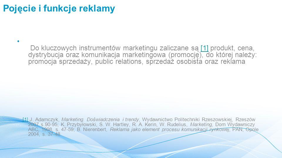 Pojęcie i funkcje reklamy Do kluczowych instrumentów marketingu zaliczane są [1] produkt, cena, dystrybucja oraz komunikacja marketingowa (promocję),