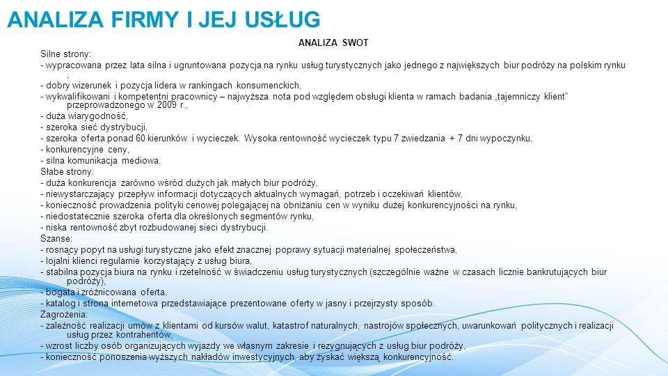 """ANALIZA SWOT Silne strony: - wypracowana przez lata silna i ugruntowana pozycja na rynku usług turystycznych jako jednego z największych biur podróży na polskim rynku, - dobry wizerunek i pozycja lidera w rankingach konsumenckich, - wykwalifikowani i kompetentni pracownicy – najwyższa nota pod względem obsługi klienta w ramach badania """"tajemniczy klient przeprowadzonego w 2009 r., - duża wiarygodność, - szeroka sieć dystrybucji, - szeroka oferta ponad 60 kierunków i wycieczek."""