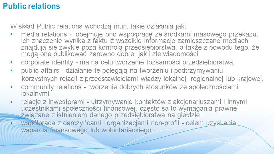 Public relations W skład Public relations wchodzą m.in.