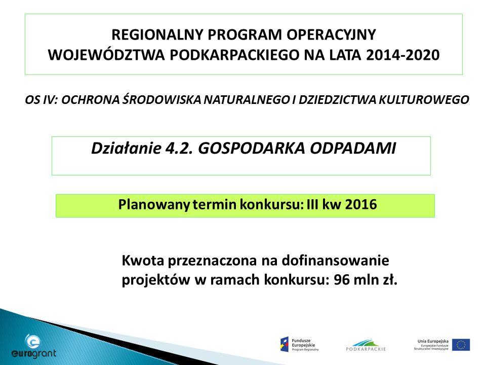 REGIONALNY PROGRAM OPERACYJNY WOJEWÓDZTWA PODKARPACKIEGO NA LATA 2014-2020 OS IV: OCHRONA ŚRODOWISKA NATURALNEGO I DZIEDZICTWA KULTUROWEGO Działanie 4.2.