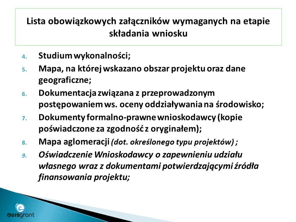 Lista obowiązkowych załączników wymaganych na etapie składania wniosku 4.