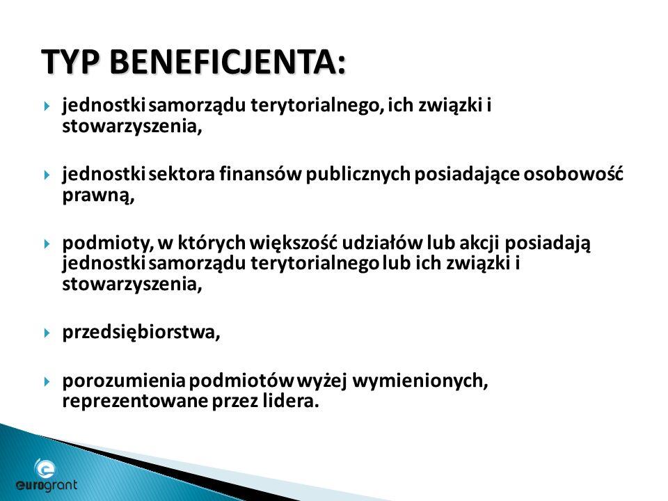 TYP BENEFICJENTA:  jednostki samorządu terytorialnego, ich związki i stowarzyszenia,  jednostki sektora finansów publicznych posiadające osobowość prawną,  podmioty, w których większość udziałów lub akcji posiadają jednostki samorządu terytorialnego lub ich związki i stowarzyszenia,  przedsiębiorstwa,  porozumienia podmiotów wyżej wymienionych, reprezentowane przez lidera.
