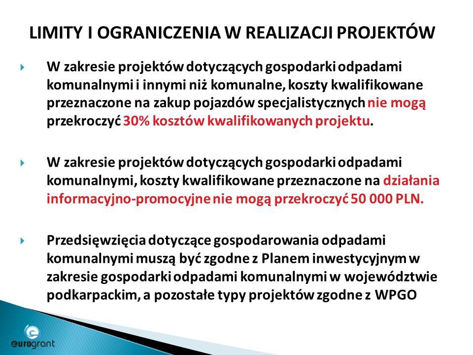 LIMITY I OGRANICZENIA W REALIZACJI PROJEKTÓW  W zakresie projektów dotyczących gospodarki odpadami komunalnymi i innymi niż komunalne, koszty kwalifikowane przeznaczone na zakup pojazdów specjalistycznych nie mogą przekroczyć 30% kosztów kwalifikowanych projektu.