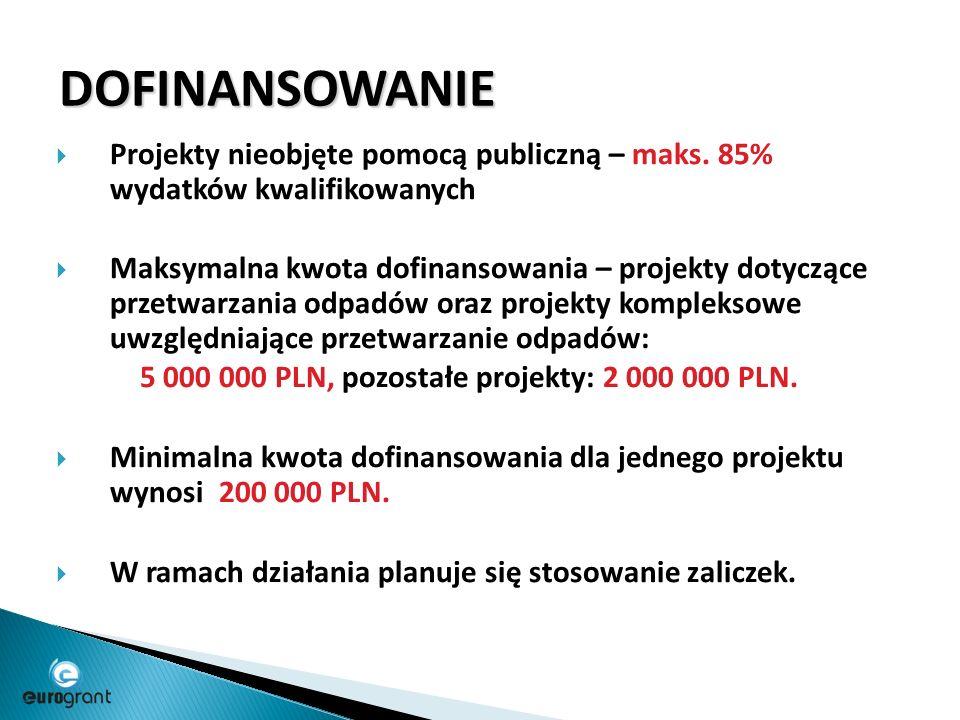 DOFINANSOWANIE  Projekty nieobjęte pomocą publiczną – maks.